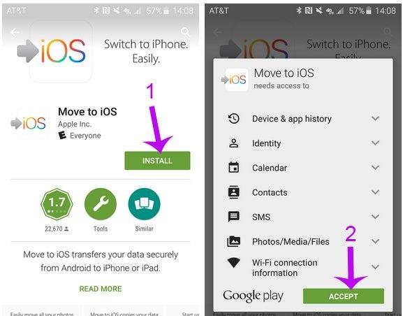 chuyển dữ liệu Android sang Iphone nhanh chóng
